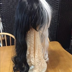 New Black White WIG Wavy Long Bangs Synthetic